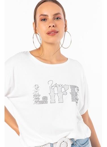 Emjey Önü Life Taşlı T-Shirt Beyaz